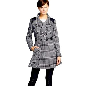 Guess Houndstooth Pea Coat